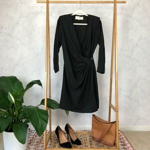 Vintage Emanuel Ungaro Dark Gray Wool Wrap Dress